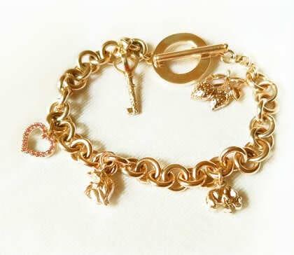 Браслет золотой на заказ с подвесками сердце, слоник, ключик